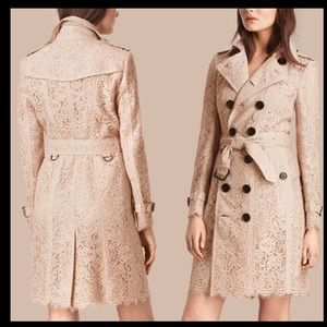 Burberry pink floral flower lace trench coat